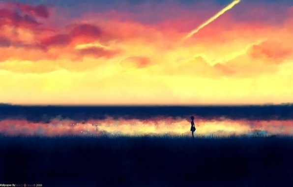 Picture field, the sky, girl, dawn, figure, minimalism