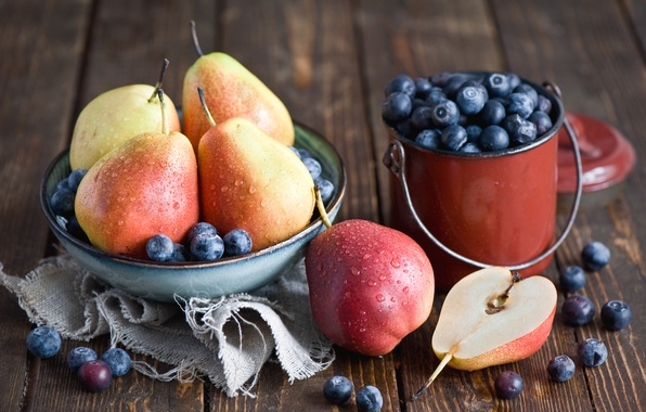 Picture berries, blueberries, plate, dishes, fruit, still life, pear, Anna Verdina