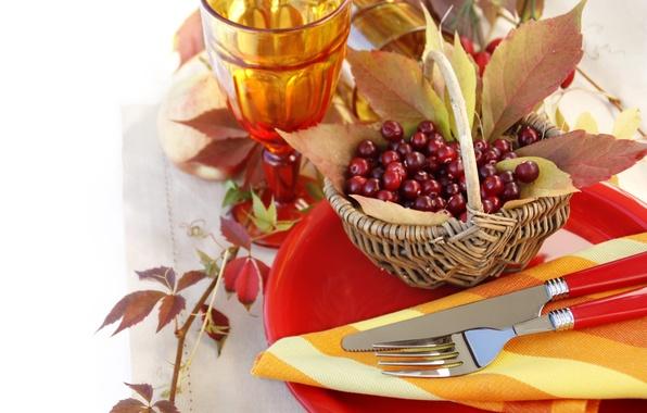 Picture leaves, berries, glasses, knife, plates, plug, basket, Rowan, napkin, Cutlery