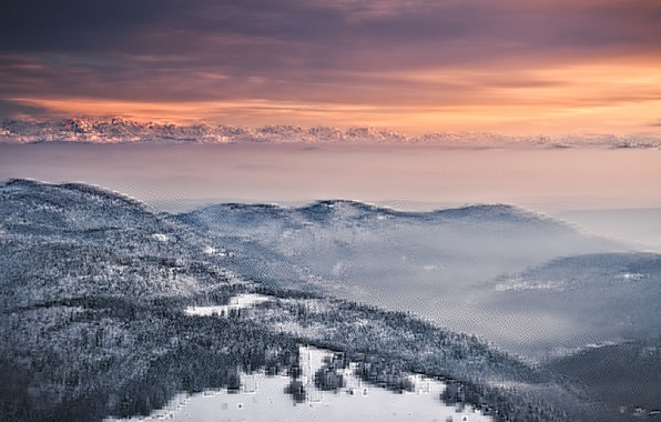Picture the sky, snow, trees, sunset, mountains, orange, fog, hills, view, height, Winter, the evening, Alps, ...