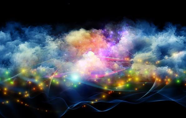 Picture light, line, paint, smoke, lights, brightness