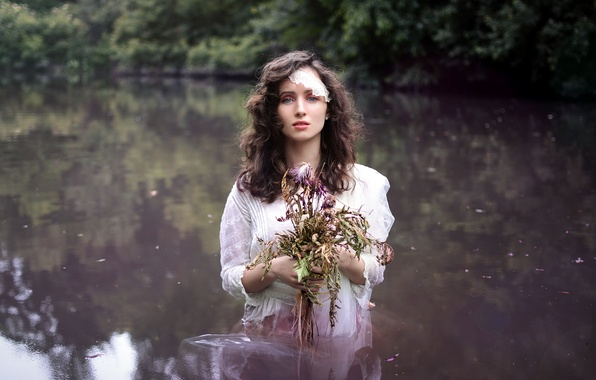 Picture girl, flowers, lake, mood