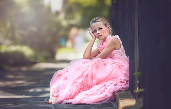 Picture dress, girl, bokeh, Julia Altork, Done