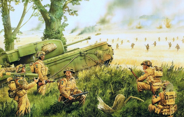 Picture art, artist, soldiers, tank, WW2, Churchill, Infantry, infantry tank, the battle for Caen, The Battle …