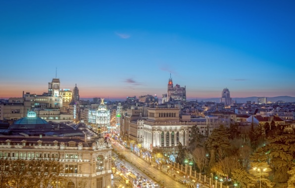 Picture road, the city, home, Europe, architecture, Spain, Madrid