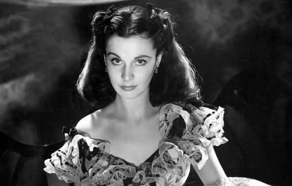 Picture retro, girls, Wallpaper, USA, USA, war, the movie, Gone with the wind, Vivien Leigh, South …
