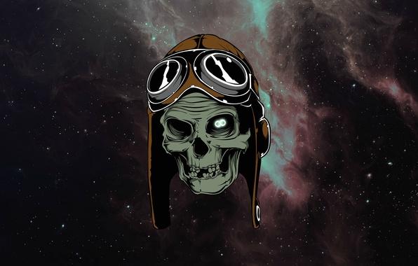 Picture space, stars, skull, glasses, sake