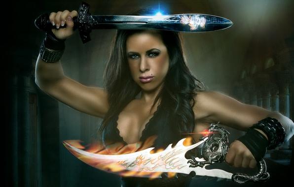 Photo wallpaper fantasy, Conan's Quest, athletic, composite, barbarian, sword, woman