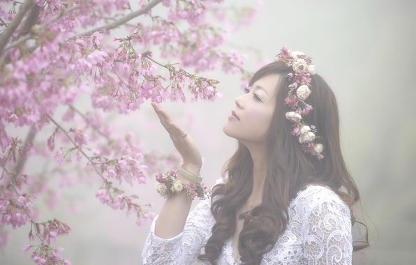 Picture girl, branches, cherry, mood, spring, Sakura, Asian, flowering, flowers