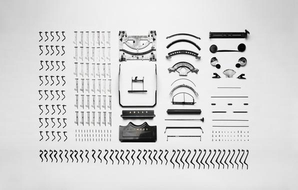 Picture retro, mechanism, keys, button, case, machine, details, vintage, retro, vintage, old, printed, old, spare parts, …