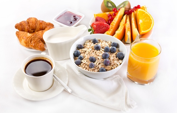 Picture coffee, Breakfast, cream, juice, fruit, jam, croissants, breakfast, serving, oatmeal