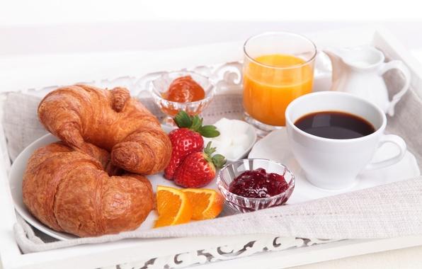 Picture glass, coffee, orange, Breakfast, strawberry, juice, Cup, sugar, slices, jam, croissants, bagels