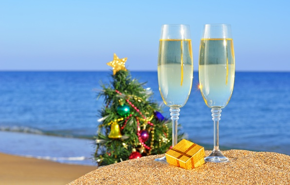 Picture sand, sea, beach, the ocean, holiday, gift, toys, new year, Christmas, glasses, tree, christmas, new …