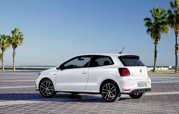 Picture white, photo, Volkswagen, car, side, 2014, Polo GTI