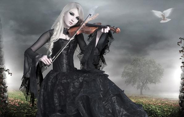 Picture girl, fire, bird, violin