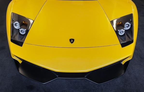 Picture Lamborghini, yellow, Lamborghini, yellow, Murcielago, front, murciélago