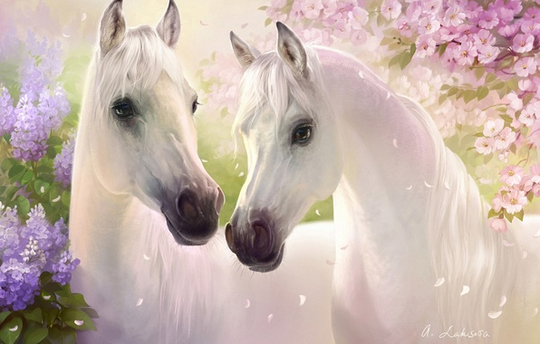 Picture flowers, cherry, horses, spring, petals, art, pair, white, lilac