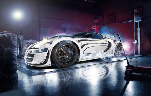 Picture Bugatti, Veyron, White, Smoke, Super, Sport, Supercar, Garage, Blanc, Pur, Ligth