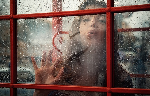 Picture girl, drops, rain, kiss, window, heart
