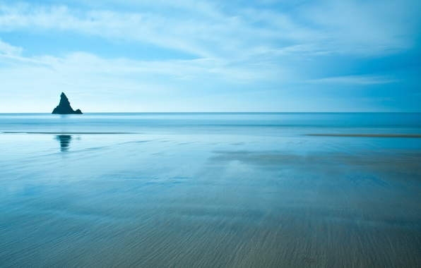 Picture sea, the sky, water, landscape, nature, reflection, background, blue, widescreen, Wallpaper, stone, wallpaper, widescreen, background, …