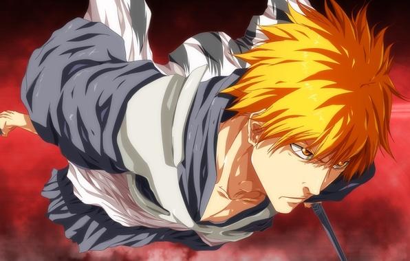 Picture battlefield, sword, game, Bleach, anime, japanese clothes, katana, man, boy, fight, asian, Kurosaki Ichigo, manga, ...