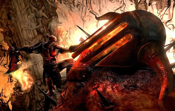 Picture hate, fire, flame, sword, armor, Kratos, soul, PS3, God, armour, hell, rage, pearls, God of ...