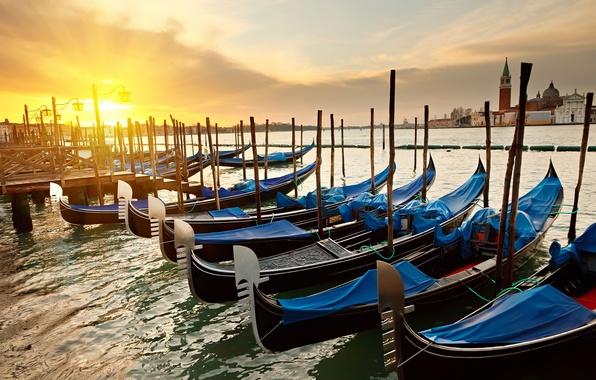 Picture the sun, sunrise, Marina, morning, channel, Venice, Italy, gondola, Sunrise Venice