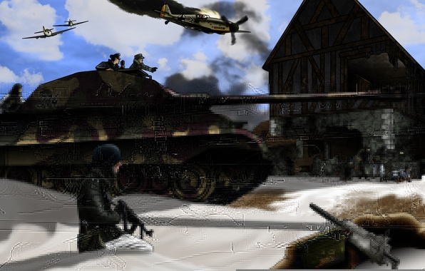 Picture tiger, war, aircraft, tank, war, the Germans