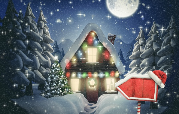 Picture winter, snow, New Year, Christmas, hut, Christmas, night, winter, snow, Merry
