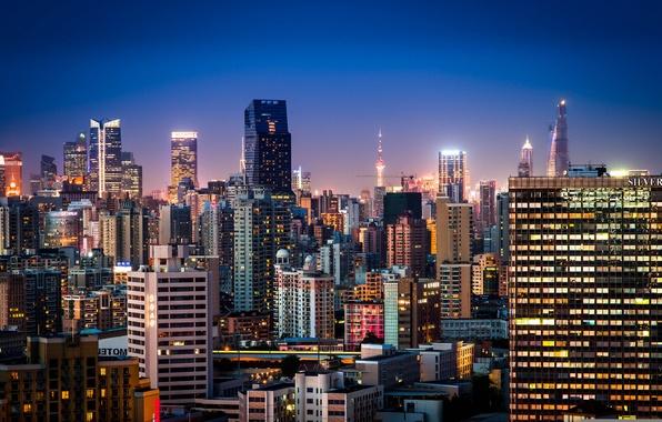 Picture China, building, panorama, China, Shanghai, Shanghai, night city, skyscrapers