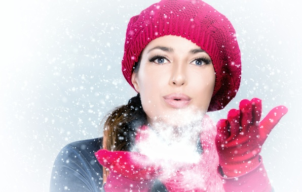 Picture winter, girl, snow, face, holiday, hat, new year, hand, gloves, new year, Christmas