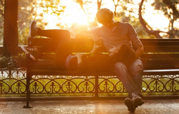 Picture girl, the sun, love, bench, nature, background, tree, widescreen, Wallpaper, romance, mood, woman, feelings, day, …