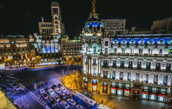 Picture road, auto, machine, building, crossroads, night city, Spain, Madrid, Madrid, Metropolis Building, Spain