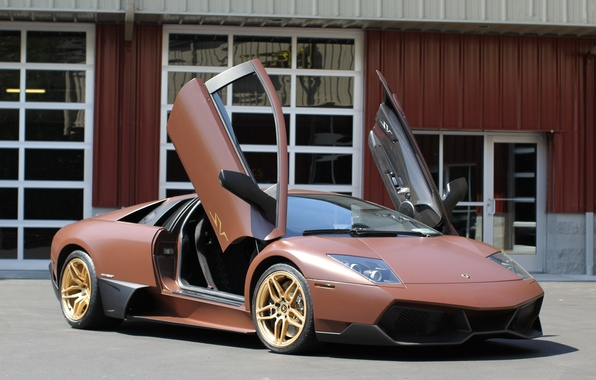 Picture the building, lamborghini, drives, brown, gold, murcielago, brown, lp640, Lamborghini, Murcielago, guillotine, doors
