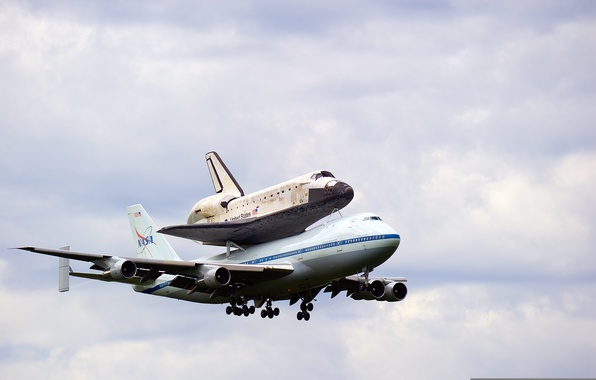 Picture the sky, Shuttle, the plane, NASA, landing, chassis, Space Shuttle Discovery, Boeing 747-100
