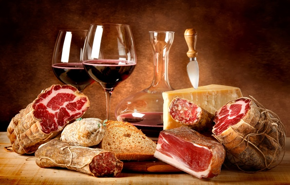 Picture wine, red, food, cheese, glasses, bread, meat, red, sausage, wine, cheese, cups, meat, decanter, Parmesan, …