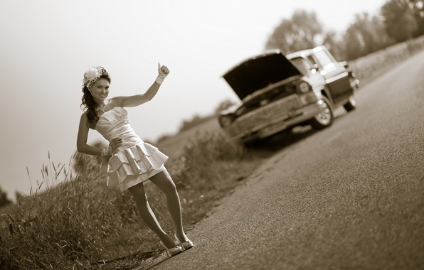 Picture road, machine, girl, the situation