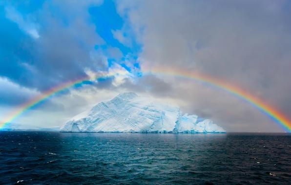Picture sea, the sky, clouds, the ocean, ice, rainbow, glacier, iceberg, Arctic