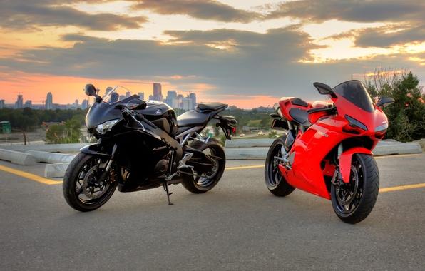 Picture red, black, motorcycles, red, honda, black, bike, Honda, ducati, Ducati, 1098, cbr1000rr, sibiar