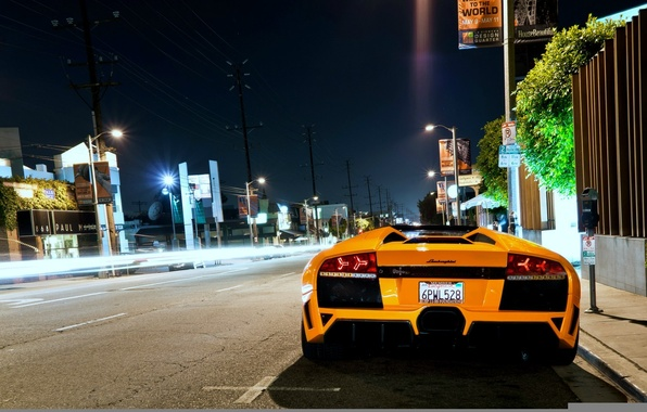 Picture night, street, lamborghini, murcielago, roadster