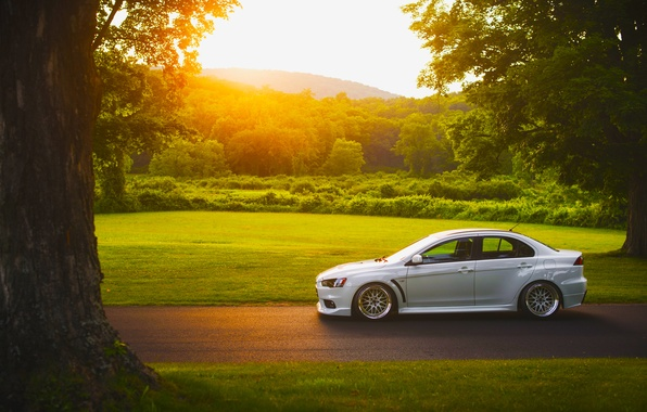 Picture Mitsubishi, Lancer, Car, Grass, Sun, Sunset, White, Side, Road, Evolution X, Stance