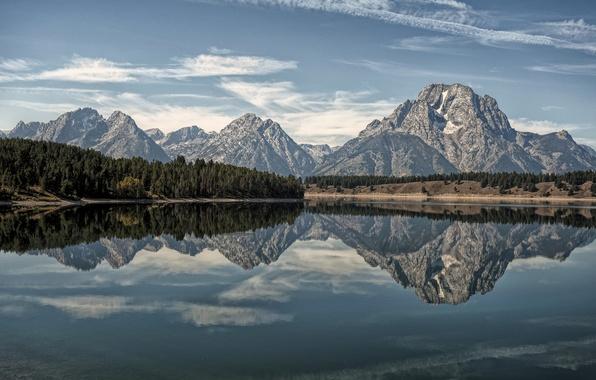 Picture forest, mountains, lake, reflection, Wyoming, Grand Teton, Grand Teton National Park, Oxbow Bend Lake
