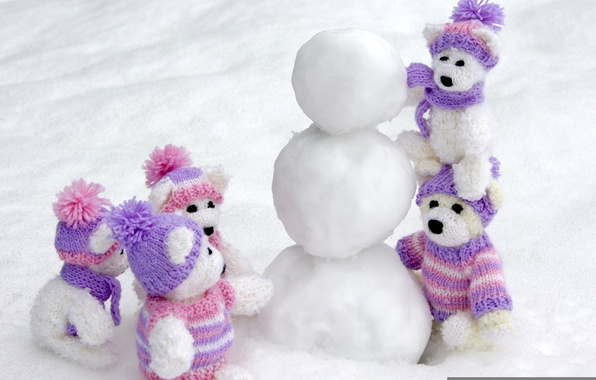 Picture winter, snow, toys, caps, white, bears, bears, scarves, Souvenirs, snow balls, unfinished snowman