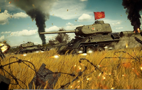 Picture war, attack, banner, The red army, T-34-85, Soviet medium tank during world war II