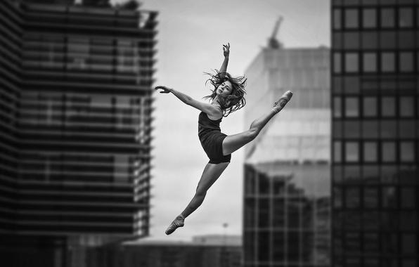 Photo Wallpaper Girl Woman Jump Model Bokeh Black And White