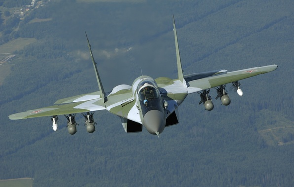 Picture flight, fighter, missiles, front view, bombs, The Russian air force, multifunction, The MiG-29SMT, MiG-29SМТ, the ...