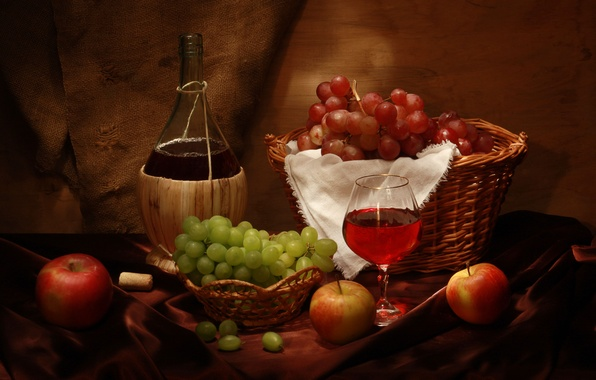 Picture wine, basket, apples, glass, bottle, grapes, tube, still life, wine