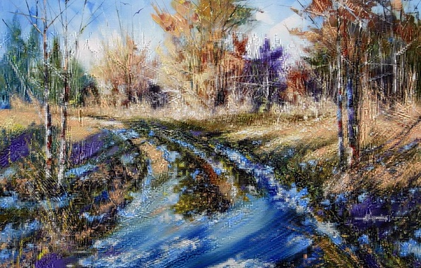 Picture winter, autumn, forest, the sky, snow, trees, landscape, nature, picture, puddles, painting, Khodukov