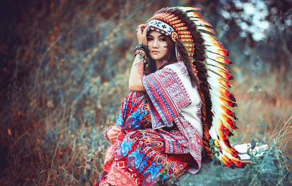 Picture look, girl, nature, face, feathers, sitting, headdress