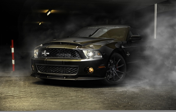 Picture car, auto, strip, black, smoke, Ford, mustang, Mustang, Cobra, sports car, sportcar, shelby, Shelby, gt500